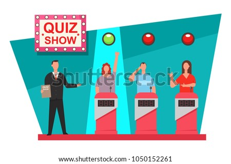 Quiz game TV show concept design. Vector flat illustration of the people on the podium.