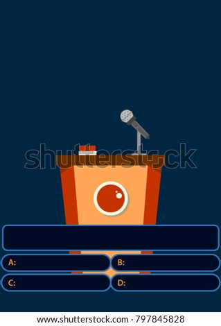 Quiz game with answers . Colorful flat cartoon vector illustration. Quiz brainy game.