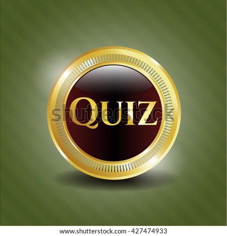 Quiz golden badge or emblem