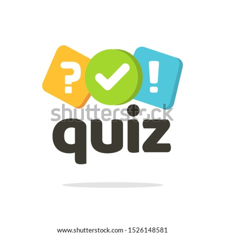 Quiz logo icon vector symbol, flat cartoon bubble speeches with question and check mark signs as competition game or interview logotype, poll or questionnaire modern creative insignia isolated