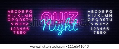 Quiz night announcement poster vector design template. Quiz night neon signboard, light banner. Pub quiz held in pub or bar, night club. Pub team game. Questions game. Vector. Editing text neon sign
