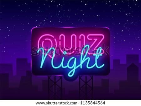 Quiz night announcement poster vector design template. Quiz night neon signboard, light banner. Pub quiz held in pub or bar, night club. Questions game bright retro light sign. Vector Billboard
