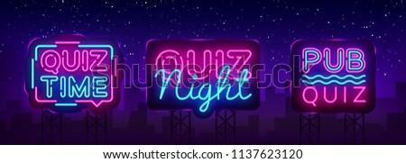 Quiz night collection announcement poster vector design template. Quiz night neon signboard, light banner. Pub quiz held in pub, bar, night club. Pub team game. Vector Billboard
