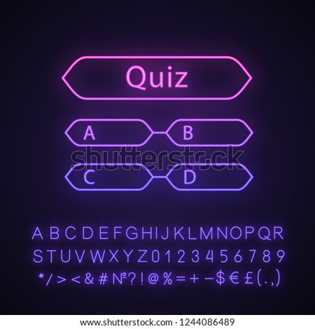 Quiz question neon light icon. Intellectual game. Trivia contest. Set of questions. Glowing alphabet, numbers and symbols. Vector isolated illustration