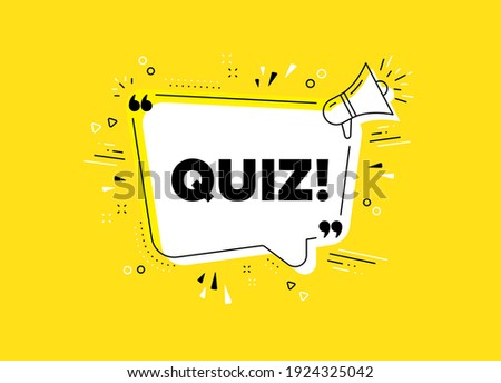 Quiz symbol. Megaphone yellow vector banner. Answer question sign. Examination test. Thought speech bubble with quotes. Quiz chat think megaphone message. Infographics yellow background. Vector