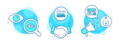 Quiz test, Scroll down and Truck delivery line icons set. Handshake deal, research and promotion complex icons. Favorite sign. Select answer, Swipe screen, Logistics. Star feedback. Vector