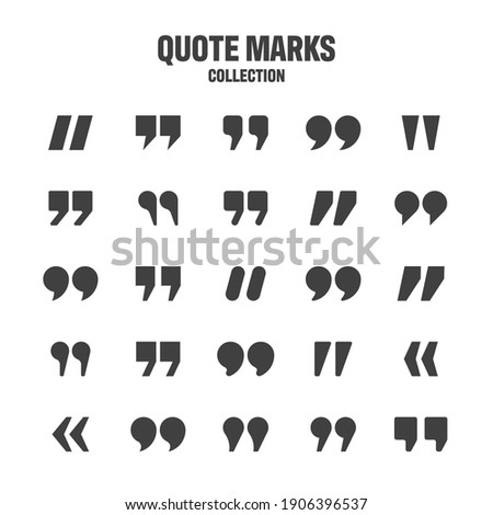 Quotation marks vector collection. Black quotes icon. Speech mark symbol.