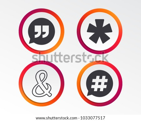Quote, asterisk footnote icons. Hashtag social media and ampersand symbols. Programming logical operator AND sign. Speech bubble. Infographic design buttons. Circle templates. Vector