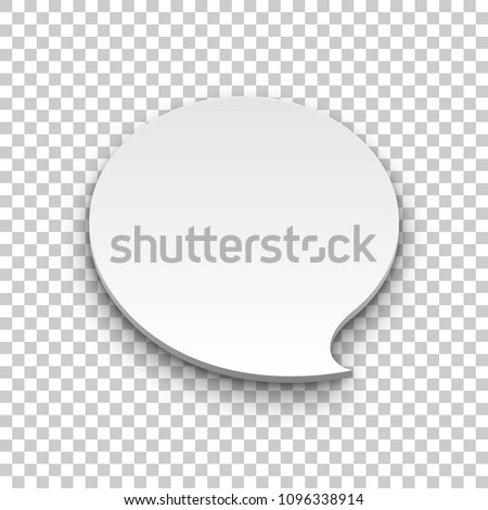 Quote balloon volume oval transparent background. Single object for comics and reminders. Vector illustration of utterance element #1096338914