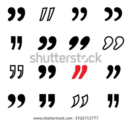 Quote. Black Quotes vector icons collection. Quote marks. Vector illustration