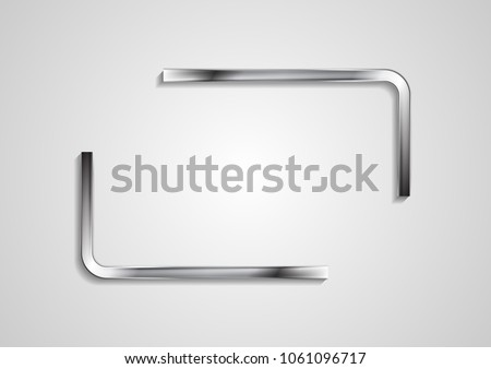 Quote blank speech bubble abstract rectangle metal design. Vector silver background