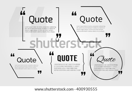 Quote blanks templates with text bubble with Commas. Vector Empty template for note,message, comment. Dialog box. Quote bubble, quoting box, icon