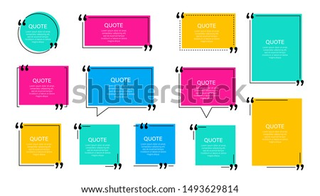 Quote box frame, big set. Quote box icon. Texting quote boxes. Blank template quote text info design boxes quotation bubble blog quotes symbols. Creative vector banner illustration.
