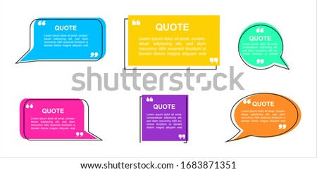Quote box frame, big set. Quote box icon. Texting quote boxes. Blank template quote text info design boxes quotation bubble blog quotes symbols. vector  illustration.