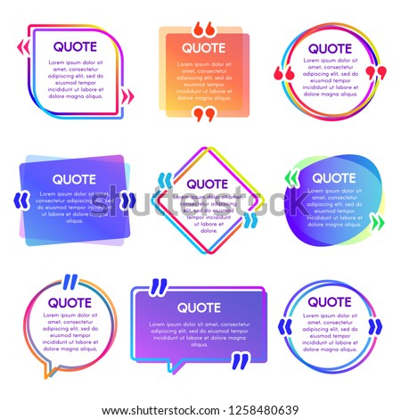 Quote box frame. Mention text frames, remark speech bubble and sentences quotes words boxes. Texting quote speech citation commas box web reference vector isolated icons set