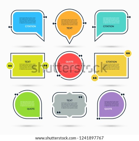 Quote box, speech bubble, text in brackets, citation template isolated on white background. Vector illustration Сток-фото ©