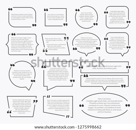 Quote boxes. Quotation sentence box design, idea paragraph marks comment sentencing mention description bubbles with commas vector set