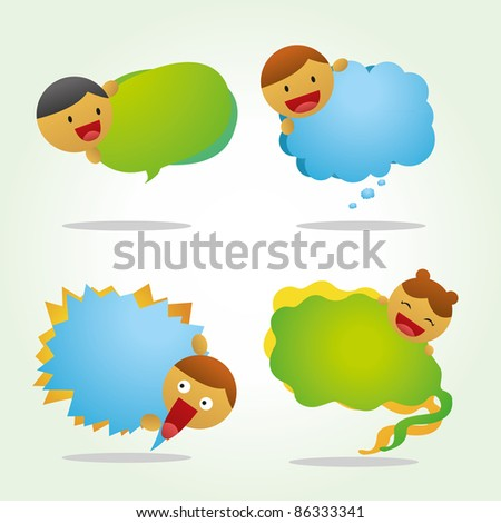 Quote bubble cartoon with two color green and blue