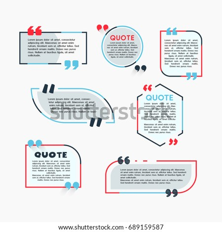 Quote Bubbles - modern vector color set of different shapes with filler text. Various sizes. Use these high quality hollow figures for your presentation, banners and flyers. Circle, hexagon, rectangle