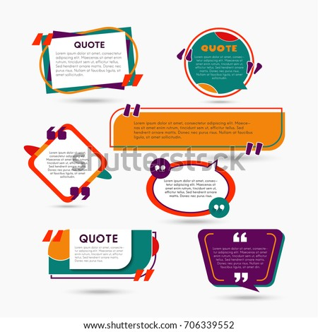 Quote Bubbles - modern vector color set of different shapes with filler text. Various sizes. Use these high quality hollow figures for your presentation, banners and flyers. Circle, hexagon, rectangle #706339552