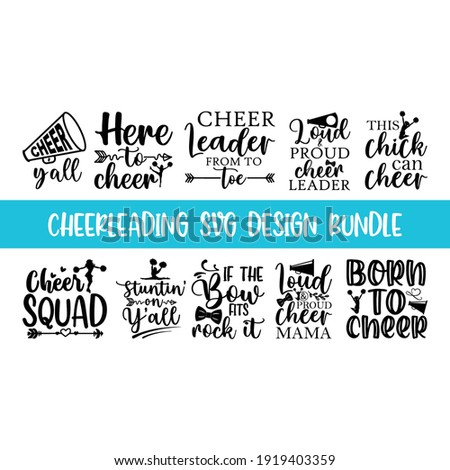 Quote Cheerleading typography set, lettering style cheerleading promotion quotes, Graphic design lifestyle lettering, and Sketch mug inspiration vector type simple sticker lettering set ストックフォト ©