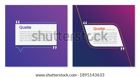 Quote frames blank templates set. Quote box frame vector. quote bubbles. Quote Typographical Poster Template Foto stock ©