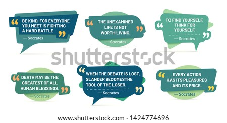 Quote in quotes frames. Socrates quotes, speech stickers and comment box badge. Info text, memo words tag or citation notes pages. Isolated vector symbols set