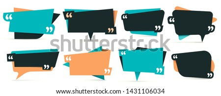 Quote in quotes. Remark frames, frame for idea and quotation template. Memo quotation frame, quote textbox or quoting commas dialog word tag. Vector isolated icons set