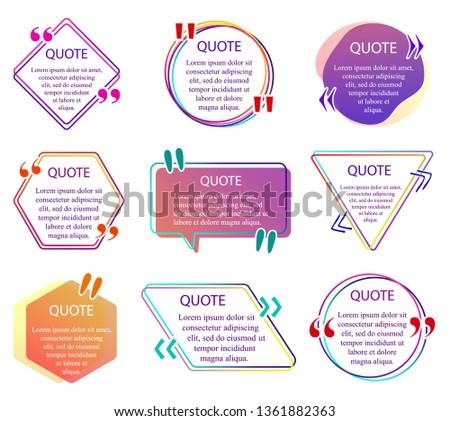 Quote info box. Set of color quotes bubble templates. Text remark frame, quotes reference label and texting dialogue words excerpt frames boxes or mention balloon. Vector Quote info box