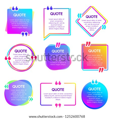 Quote info box. Text remark frame, quotes reference label and texting dialogue words excerpt frames boxes or mention balloon. Citation quotation creative bubble vector isolated icons set