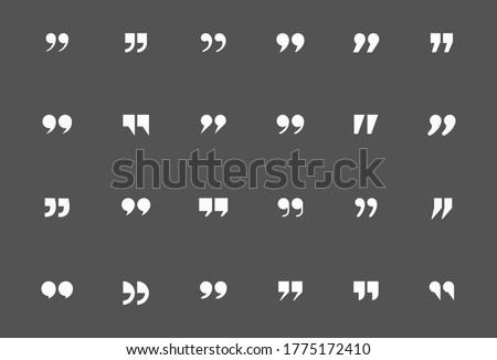 Quote mark icon set for conversation or definition. Quote speech symbol vector illustration. Citation double comma graphic design collection for comment or punctuation sign. SET 2