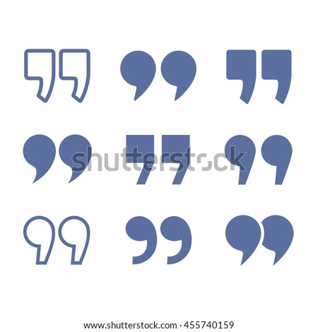 quote marks set vector design flat abstract collection illustration icons symbols