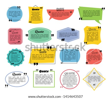 Quote speech bubbles, flat line design vector illustration