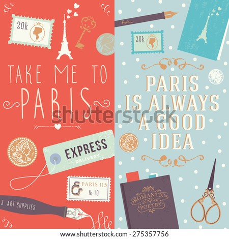 quote take me to paris and paris is always a good idea collection of two web banners and. Black Bedroom Furniture Sets. Home Design Ideas
