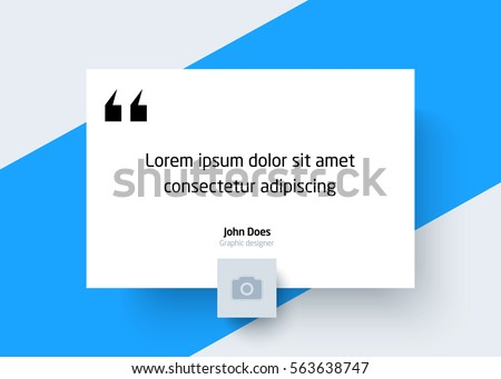 Quote Template with Place for Text and Photo. Creative Modern Material Design Quote template. Quote Typographical Poster Template, Vector