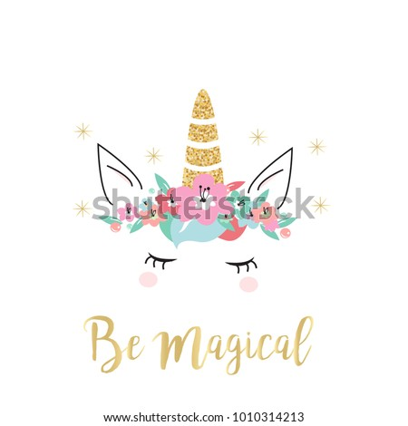 Quote unicorn card/ background in vector. Hand drawn doodle Illustration for mugs and t-shirts