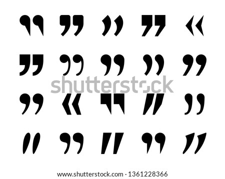 Quotes marks. Quotation marking quote mark comma double commas speech punctuation text excerption typography citation marking, vector icon