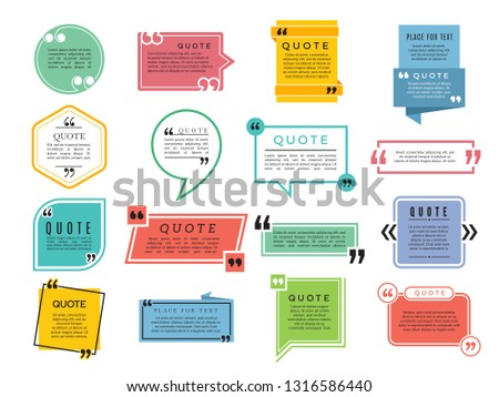 Quotes shapes. Text boxes remark sentences quotes vector typography frame template