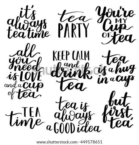 quotes tea typography set