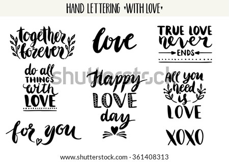 Vector Hand Drawn Lettering Love Set Download Free Vector Art