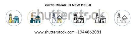 Qutb minar in new delhi icon in filled, thin line, outline and stroke style. Vector illustration of two colored and black qutb minar in new delhi vector icons designs can be used for mobile, ui, web