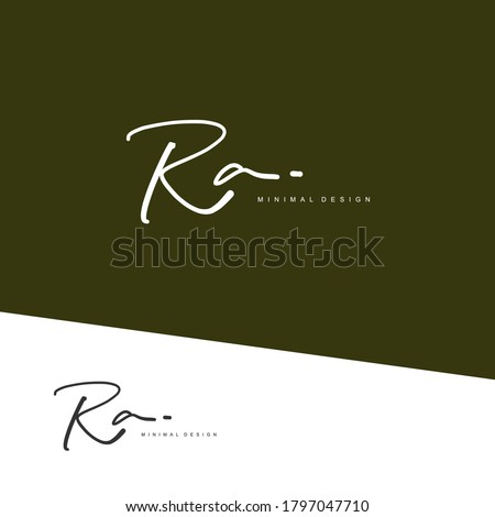 R A RA Initial handwriting or handwritten logo for identity. Logo with signature and hand drawn style. Stock fotó ©
