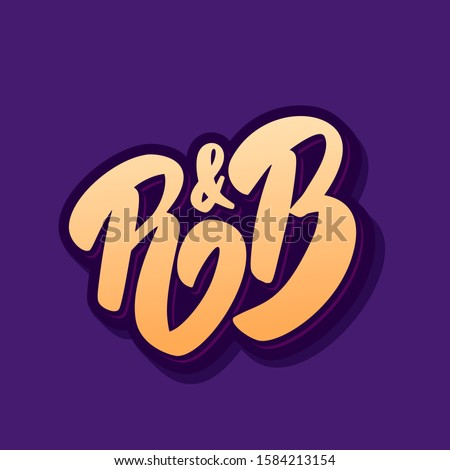 R&B. Hand drawn vector lettering. Music style.  Stock fotó ©