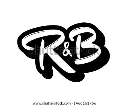 R&B music genre logo vector. Hand lettering for designs. Stock fotó ©