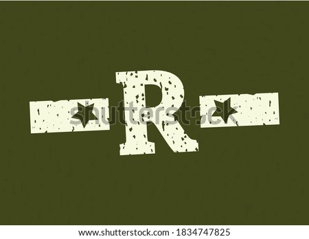 R badge letter Military, Army design with star on camouflage background. Grungy font vector illustration Stock fotó ©