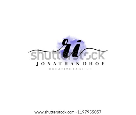 R I RI Initial watercolor logo on white background. Logo template vector