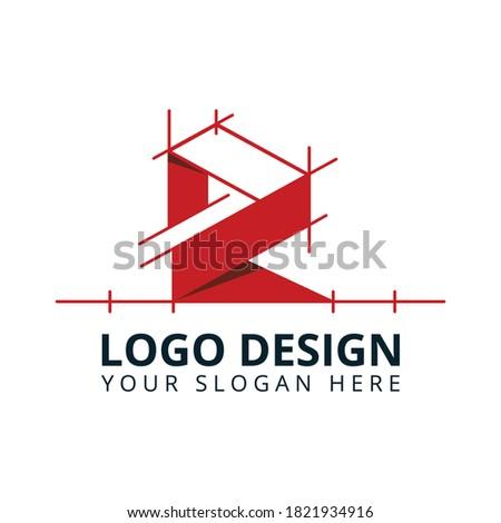 R Letter Construction Company Logo Design Vector Stok fotoğraf ©
