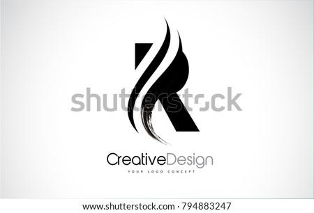 R Letter Design Brush Paint Stroke. Letter Logo with Black Paintbrush Stroke. Stock fotó ©