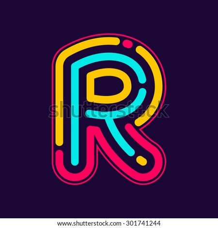 r letter logo with neon line or