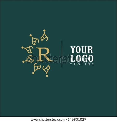 R Letter Luxury Logo. Simple and elegant floral design logo, Elegant linear luxury vector for brand identity